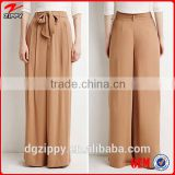 2015 New arrival china wholesale trousers fabric ,belted wide leg pants for woman                                                                         Quality Choice
