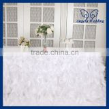 CL010K Hot sale elegant organza 6ft rectangle ruffled curly willow frilly fancy white table cloths for wedding
