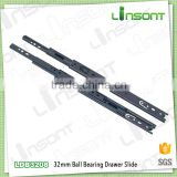 Hot selling 32mm 3 steps ball bearing slide rails track hardwares drawer slide