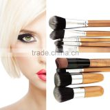 11pcs Bamboo Handle Foundation Blending Makeup Brushes Set + Flat Angled Brush