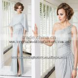 One shoulder beaded sequined custom-made 2014 floor length silver gray mother of the bride dress with cape CWFam5646