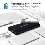 type-c cable 10000mah external battery with QC 2.0 power bank charger for mobile phone