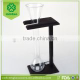 Popular small size yard beer glass with black wooden stand wholesale