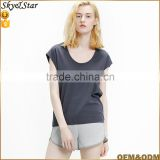 Lady fashion tees casual loose dark gray short sleeve scoop neckline blank tees