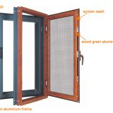 aluminium frame swing window integrated with screens for replacement or new with double glazing