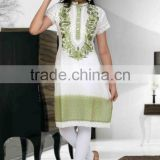 White & Green Latest kurti designs for girls for stitching 2014
