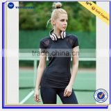 Wholesale short sleeve Black Breathable Stretchy Polyester T-shirt Top Sportswear for Fitness women sport t shirt