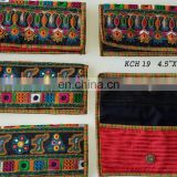 India traditional kutchi embroidery work tribal hand embroidery purse wholesale handmade handbags