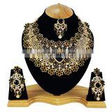 Beautiful Floral Designer Black Color Gold Plated Kundan Zerconic Necklace Earrings Tikka