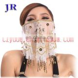 Tribal indian women beaded belly dance face veil accessory P-9015#