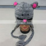 animal hat knitting pattern-grey mouse