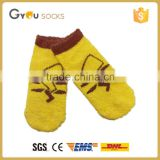 Yellow cute pattern women fuzzy floor anti-slip casual socks