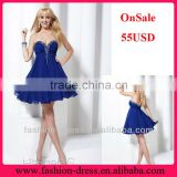 Discount 2013 Empire Sweetheart Strapless Royal Blue Beaded Chiffon New Sexy Short Prom Dress 55USD