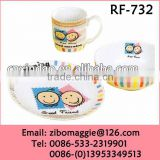 Round Shape 7.5' Porcelain Breakfast Set Tray with Cartoon Design for Children