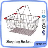 Durable metal supermarket basket with angle bead