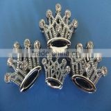 Compet Produce Rhinestone Chrome Plated 18mm Crown Slide Charms