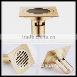 Size 10*10cm Brass bathroom floor drain with plastic pipe with eletroplate effect fast shipping