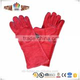 FTSAFETY cow leather work gloves red leather safety glove cow split leather welding glove