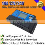 10A 12V/24V solar battery voltage charge regulator controller for lead-acid/lithium/lifepo4 battery