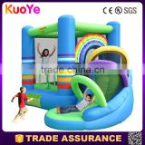 0.55mm PVC tarpaulin rainbow theme inflatable combo,inflatable bouncer with slide for kids