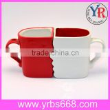 Couple Mugs White Red Face Shape Valentine's Day Gift