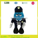 M&M's world blue peanut stuffed soft velour stuffed plush toy embroidered M&M plush toy with clothes and hat