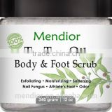 Mendior Container Pure Tea Tree Oil Body and Foot Scrub big size awesome skin care product custom brand