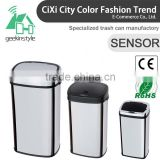 8 10 13 Gallon Infrared Touchless Dustbin Stainless Steel Waste bin bamboo trash bin SD-007