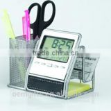 Multifunctional Silver Metal Mesh Pen Holder With Calendar And Business Name Card Holder
