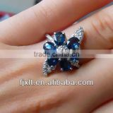 New Arrival Fashionable 925 Sterling Silver Sapphire Flower Ring