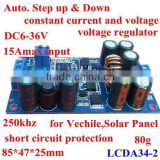 DC to DC Auto. Boost and buck converter module 20mA 250KHZ 15Amax 6-36V constant current voltage regulator