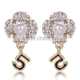 Special design NO.5 new fashion crystal/rhinestone stud earrings wholesale pearl earrings