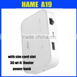 Hame A19 power bank 3g wifi router with simcard slot 5200mAH Li-ion battery