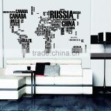 Letter Fashion Large decal world map wall sticker