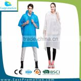 PROMOTIONAL PLASTIC ADULT PVC HOODED RAIN PONCHO FOR MAN AND WOMEN