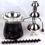 40w power stable performance 3 tiers stainless steel mini chocolate fountain ,professional chocolate fountain sale