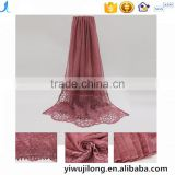 New fashion concise style plain dyed linon viscose thin flower lace trim ribbon hijab scarf