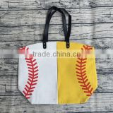 wholesale printed softball baseball tote canvas cotton personalized totes bag for moms football bags with leather handles