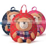 cartoon plush children girl school bag with safe harness