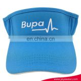 10856 cotton twill light blue sun visor promotional visor with BUPA flat embroidery