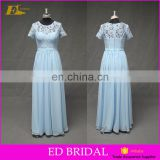 Wholesale Online Real Sample Short Sleeve Lace Top Full Length Blue Long Bridesmaid Dress