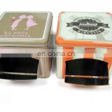 square cookies tin box with window