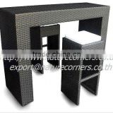 Aluminum Frame Outdoor High Rattan Bar Table with Stool