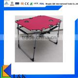Custom folding table /portable folding table/metal folding table with two cup holders                                                                         Quality Choice