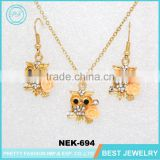 Jinhua Wholesale Fashion Jewelry Crystal Owl Dubai Gold Jewelry Set