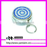 Crysal Rhinestone Pill Box Holder Keychain