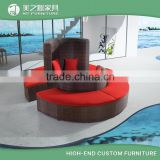 New design rattan half moon sofa, colorful cushioned half round sofa                                                                                                         Supplier's Choice