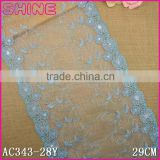 Factory fashion cheap blue beaded 29cm nylon double side embroidery Lace fabric for woman clothes decoration