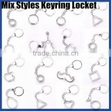 Mix styles key ring lockets alloy locket keychain metal keychain