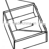 2 Compartments Sectional Square Acrylic Tray with Hinge Cover